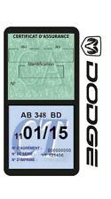 Porte vignette assurance DODGE double étui adhésif voiture Stickers auto rétro