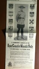RARE 1951 RCMP ROYAL CANADIAN MOUNTED POLICE RECRUITING AD MOUNTIE $170 / MONTH