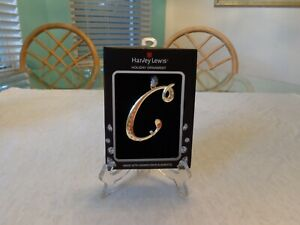 """Harvey Lewis Letter """"C"""" Silver Metal Ornament Crystals from Swarovski Elements"""