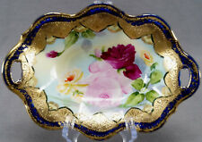 IE & CO Nippon Hand Painted Pink & Yellow Rose Cobalt & Gilt Moriage Relish Dish