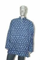 Men's 100% Cotton Shirt Indian Kurta Plus Size  Printed Blue Handblock