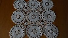 PRETTY VINTAGE OFF WHITE / CREAM DRESSING TABLE MAT CLOTH 11 x 10.5 in