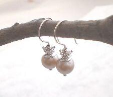 925 Silber MUSCHELKERN Ohrringe Vintage nude mandel Perle Sterlingsilber g856