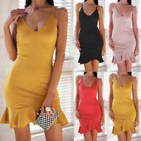 Sexy Womens Summer Straps Ruffled Bodycon Dress Ladies Party Short Mini Dress