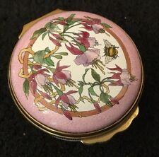 HALCYON DAYS ENAMELS Green Pink Floral Fuchia Fuschia Flowers Enamel Trinket Box