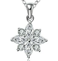 1 ct Created White Sapphire Snowflake Pendant in 18K White Gold Plated