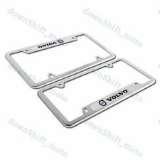 For 2PCS VOLVO Silver Stainless Steel Metal License Plate Frame New