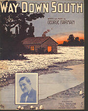 Sheet Music 1912 Way Down South by George Fairman Vintage Sheet Music