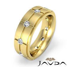 Bezel Set Round Diamond Eternity Men Wedding Band 14k Yellow Gold 9mm Ring 0.6Ct