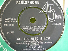 SP THE BEATLES - All you need is love - Parlophone R 5620 - avec centreur - 1967