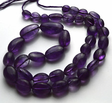 NATURAL SUPER AFRICAN AMETHYST SMOOTH NUGGETS BEADS  5 -15 MM 14 INCH