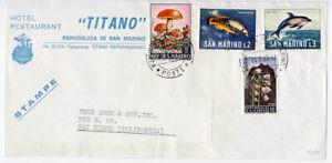 San Marino 1967 Titano Hotel Advertising Cover Mushroom Fish Flowers Topical