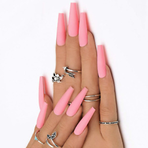SKINNY LONG COFFIN *MATTE PINK PRANCE* Press On 24 Full Cover Nail Tips + Glue!