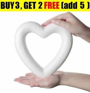 Heart Shaped White Foam Wreath Polystyrene Modelling Craft Gift Trim DIY