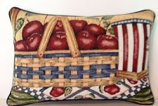 Americana- Basket Of Apples w/ Flag Colored Birdhouse Tapestry Pillow New!