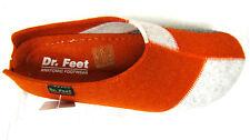 Neu Hausschuh Damen Wollfilz orange grau weiß super bequem Gummisohle Gr. 42