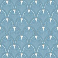 Moderne Art Déco Ventilateur Papier Peint Rouleaux Bleu/Blanc - Rasch 433234