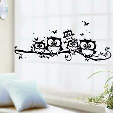 Home Removable Art Vinyl Decal Owl Cartoon Wall Sticker Kids Bed Room Black