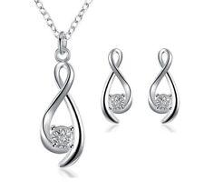 SCHMUCKSET mit Kette & Ohrringen Damen unendlich Silber plated Strass romantisch