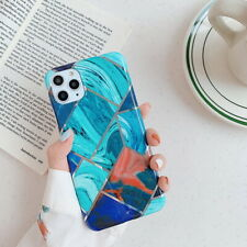 Plating Geometric Marble Soft Back Case Cover For iPhone 11 Pro Max XS XR X 7 8