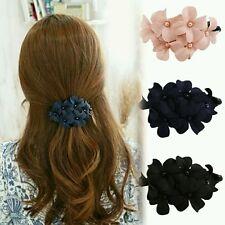 Fashion Handmade Women Girl Flower Banana Barrette Navy blue Color Hair Clip