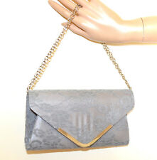 BOLSO CLUTCH GRIS bag pochette mujer encaje bordado cadena plata elegante G55