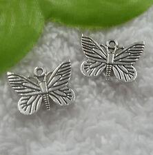 Free Ship 90 pcs tibet silver butterfly charms 22x16mm #2073