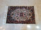Vintage woven plush floor rug tapestry rug with fringe 43x24.5