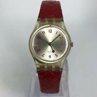 Swatch Womens 627 Swiss Made White Dial Red Genuine Leather Quartz Analog Watch