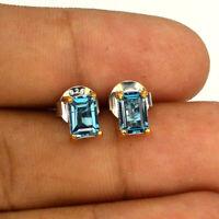 Octagon Cut 6x4mm Top London Blue Topaz 2-tone 925 Sterling Silver Earrings