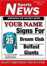 A5 personalizzato Belfast Giants greeting card compleanno Hockey su ghiaccio pid095