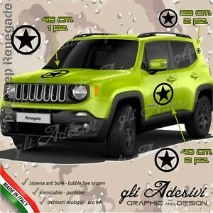 Set 5 Adhesives Sticker Jeep Renegade Stella And Circle Bonnet Door Mount