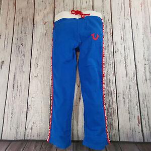 Men's True Religion Sweatpant Joggers pants 34 x 32 Medium in Blue & Red RRP £79