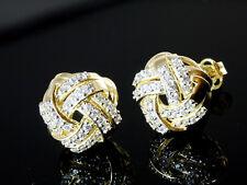 585 Gold Ohrstecker grosse Knoten 10,0 mm mit 1 Paar mit Zirkonia Steinen