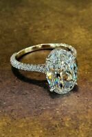 3Ct Oval Cut D/VVS1 Diamond Solitaire Engagement Ring 14K White Gold Finish