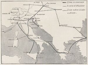 E0597 Net House Lines Fitting Italian - 1927 Map Period - Vintage Map