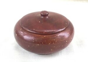 Vintage Round Lathe Turned California Redwood Souvenir Trinket/Jewelry Box
