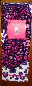"""Juicy Couture Beach Towel 100% Cotton 36"""" x 68"""" Leopard Print w/ Purple Leopard"""