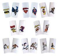 2 Pack Mens 100% Cotton Novelty Cartoon Superhero Gift Embroidered Handkerchiefs