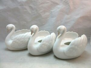 3 Vintage Global Art porcelain swan bud vases