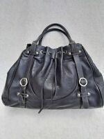 Furla Black Pebbled Leather Handbag Hobo Tote Shoulder Bag Purse Drawstring
