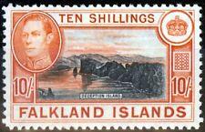 Falkland Is 1942 10s Black & Orange SG162a V.F MNH