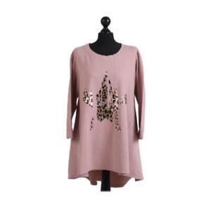 Womens Foil Leopard Star Print Dipped Hem Top | Pink | One Size (14-20)