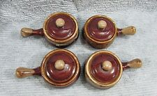Set Four French Onion Soup Bowls Brown Drip Stoneware Crocks Handle Lids FREE SH