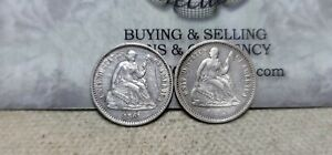 Lot of 2 Seated Liberty Half Dimes 5c 1861 & 1862 Cleaned