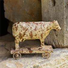 New Primitive Vintage Style COW w/ WHEELS Country Wooden Pull Toy Figurine