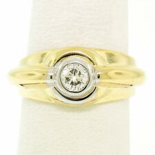 Men's 14k Two Tone Gold .40ct Bezel Set Round Diamond Solitaire Ribbed Band Ring
