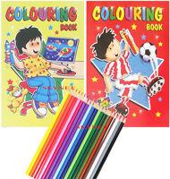 2 x A4 COLOURING BOOK BOOKS Children Kids Boys Girls  + 20 Colouring Pencils