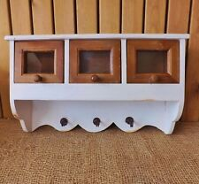Shabby Chic Wooden Natural & Vintage White Wall Unit 3 Glass Drawers Shelf Hooks