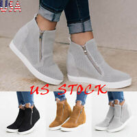 Fashion Women's High-top Zipper Sneakers Breathable Wedge Increase Casual Shoes